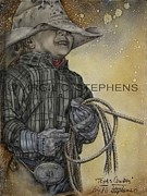 Virgil Paintings - Texas Cowboy by Virgil Stephens