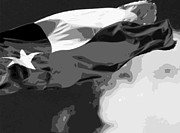 Live Music Digital Art Posters - Texas Flag in the Wind BW15 Poster by Scott Kelley