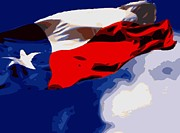Texas Country Music Digital Art Prints - Texas Flag in the Wind Color 16 Print by Scott Kelley