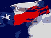 Live Music Digital Art Posters - Texas Flag in the Wind Color 6 Poster by Scott Kelley