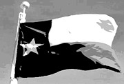 Texas Country Music Digital Art Prints - Texas Flag pole BW3 Print by Scott Kelley