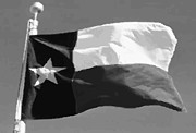 Texas Country Music Digital Art Prints - Texas Flag pole BW45 Print by Scott Kelley