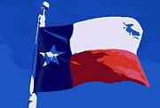 Central Texas Digital Art - Texas Flag pole Color 10 by Scott Kelley
