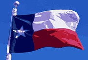 Texas Country Music Digital Art Prints - Texas Flag pole Color 16 Print by Scott Kelley