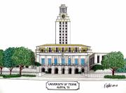 College Buildings Drawings Mixed Media Originals - Texas by Frederic Kohli