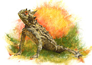 Texas Horned Toad Pastels - Texas Horned Toad by Janice Lawrence
