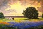 Autumn Landscape Painting Prints - Texas Horses and Bluebonnets Print by Connie Tom