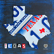 Universities Mixed Media Metal Prints - Texas License Plate Map Metal Print by Design Turnpike
