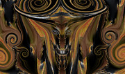 Texas Mixed Media Prints - Texas Longhorn Abstract Digital Painting Print by Heinz Mielke