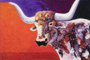 Abstracted Wildlife Art Posters - Texas Longhorn Poster by Bob Coonts