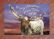 Longhorn Photo Acrylic Prints - Texas Longhorn Christmas Card Acrylic Print by Robert Anschutz