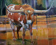 Texas Painting Originals - Texas Longhorn by Donald Maier
