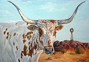 Cattle Painting Prints - Texas longhorn Print by Jana Goode