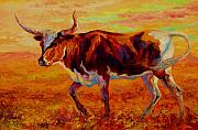 Cattle Painting Posters - Texas Longhorn Poster by Marion Rose