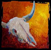 Longhorns Prints - Texas Longhorn Skull Print by Marion Rose