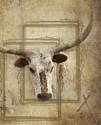 Steer Digital Art Framed Prints - Texas Longhorn View Framed Print by Betty LaRue