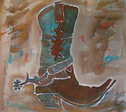 Boots Tapestries - Textiles Posters - Texas One Step Poster by Kelly     ZumBerge