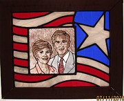 American Flag Glass Art - Texas Predident George Bush by Gladys Espenson