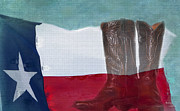 Leather Boots Posters - Texas Pride Poster by Betty LaRue