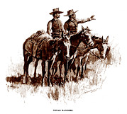 Remington Prints - Texas Rangers, Lithograph Of A Wash Print by Everett