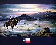 Lawmen Framed Prints - Texas Rangers On His Trail POSTER Framed Print by Donn Kay
