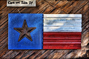 Wooden Paneling Prints - Texas Wood Plaques Print by Linda Phelps