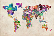 Watercolor  Posters - Text Map of the World Poster by Michael Tompsett