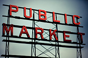 Washington State Prints - Text Public Market In Red Light Print by © Reny Preussker