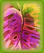 Monstera Mixed Media Framed Prints - Textile 44  Laninuinui Framed Print by Wendy Wiese
