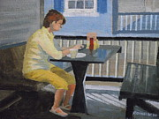 Texting Painting Prints - Texting At Breakfast Print by Robert Rohrich