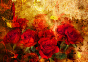 Red Flowers Digital Art - Texture Roses by Svetlana Sewell