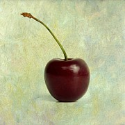 Eating Metal Prints - Textured cherry. Metal Print by Bernard Jaubert