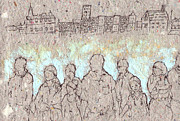 Building Exterior Digital Art - Textured Drawing Of Group Of People by Eriko Hirabayashi