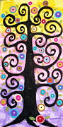 Mixed Media Art Paintings - Textured Tree by Karla Gerard