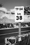 Canary Islands Metal Prints - tf-24 38km roadside highway distance marker Tenerife Canary Islands Spain Metal Print by Joe Fox
