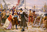 Colonial Man Prints - Th Fall Of New Amsterdam, 1664 Print by Photo Researchers