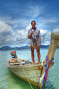 Foreign Travel Posters - Thai Boat Man-Surin Island Poster by Ron Schwager