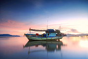 Featured Tapestries Textiles Prints - Thai fishing boat Print by Teerapat Pattanasoponpong