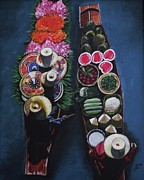 Kim Selig Art - Thai Floating Market by Kim Selig