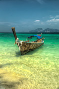 Waves Prints - Thai Longboat  Print by Adrian Evans