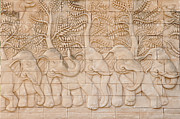 Bas Relief Reliefs Prints - Thai style handcraft of elephant Print by Phalakon Jaisangat