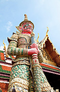 Asian Culture Prints - Thailand, Bangkok, Grand Palais, Wat Phra Kaeo, Door God Print by IMAGEMORE Co, Ltd.