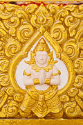 Statue Portrait Originals - Thailand Buddha statue on the temple wall. by Weerayut Kongsombut