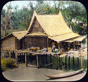 Slide Prints - Thailand, Home On Canal, Bangkok, Hand Print by Everett