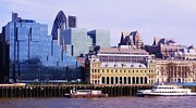 St Margaret Prints - Thames and Financial District - London Print by John Clark
