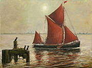 Eric Bellis Prints - Thames Barge and Guillemots Print by Eric Bellis