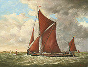 Eric Bellis Metal Prints - Thames Barge at the Mouth of the Estuary Metal Print by Eric Bellis