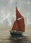 Eric Bellis Prints - Thames Barge by Canary Wharf Print by Eric Bellis