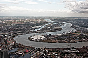 London Structure Prints - Thames Of East London From Air Print by Photo by Stuart Gleave