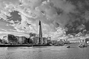 City Hall Prints - Thames view with Shard BW Print by Gary Eason